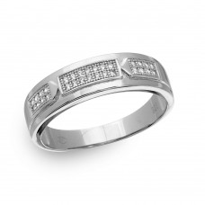 Sterling Silver Rhodium Plated Trio Bar Eternity Ring with CZ - GMR00169RH