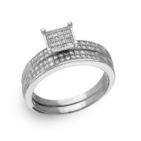 Wholesale Sterling Silver 925 Rhodium Plated Square Pave Center Trio Bridal Ring - GMR00170