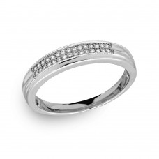 Mens Sterling Silver Rhodium Plated CZ Trio Band - GMR00171RH