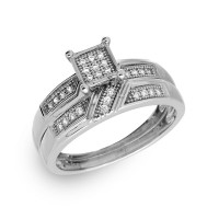 Wholesale Sterling Silver 925 Rhodium Plated Square Pave Center Trio Bridal Ring - GMR00172