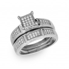 Sterling Silver Rhodium Plated Square Pave Center Trio Bridal Ring - GMR00174RH