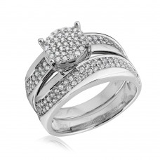 Sterling Silver Rhodium Plated Wave CZ Band Round Center Cluster Stones Wedding Ring - GMR00176RH
