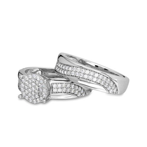 Wholesale Sterling Silver 925 Rhodium Plated Wave CZ Band Round Center Cluster Stones Wedding Ring - GMR00176