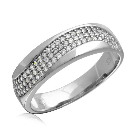 Wholesale Mens Sterling Silver 925 Rhodium Plated Wave CZ Wedding Ring - GMR00177