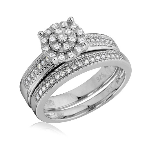 Wholesale Sterling Silver 925 Rhodium Plated Cluster Stones Wedding Ring Set - GMR00178
