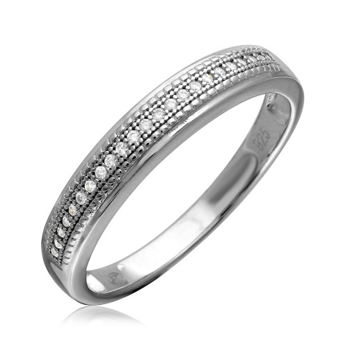 Wholesale Sterling Silver 925 Rhodium Plated Cluster Stones Wedding Ring Set - GMR00179