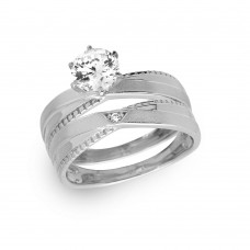 Sterling Silver Rhodium Plated Round Solitaire Trio Bridal Ring - GMR00180RH