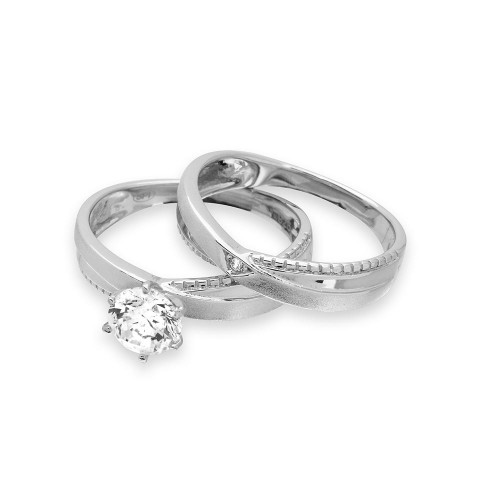 Wholesale Sterling Silver 925 Rhodium Plated Round Solitaire Trio Bridal Ring - GMR00180