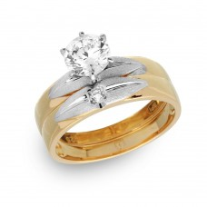 Wholesale Sterling Silver 925 Gold Plated with Matte Rhodium Finish Two Piece Bridal Ring - GMR00182GP
