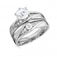 Sterling Silver Rhodium Plated Round CZ Center Stone Wedding Ring - GMR00184