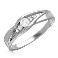 Wholesale Sterling Silver 925 Rhodium Plated Round CZ Center Stones Wedding Ring - GMR00185