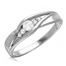 Sterling Silver Rhodium Plated Round CZ Center Stones Wedding Ring - GMR00185RH