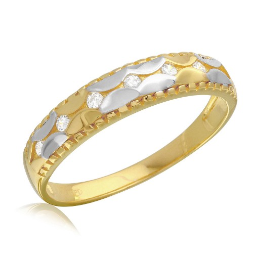 Wholesale Mens Sterling Silver 925 2 Toned Hammered CZ Wedding Ring - GMR00187GP