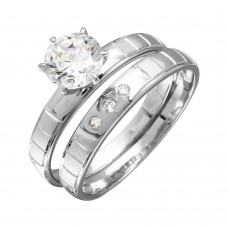 Sterling Silver Rhodium Plated Line Shank Design Bridal Trios Ring - GMR00188RH