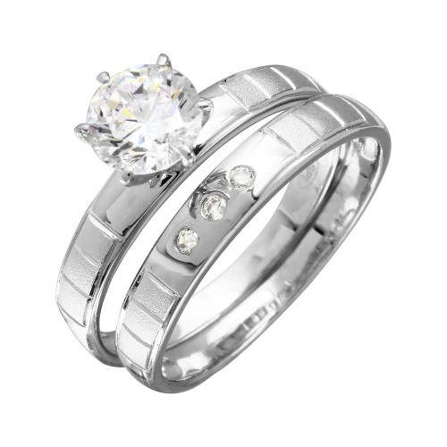 Wholesale Sterling Silver 925 Rhodium Plated Line Shank Design Bridal Trios Ring - GMR00188