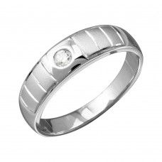 Mens Sterling Silver Rhodium Plated Line Shank Design Trios Ring - GMR00189RH
