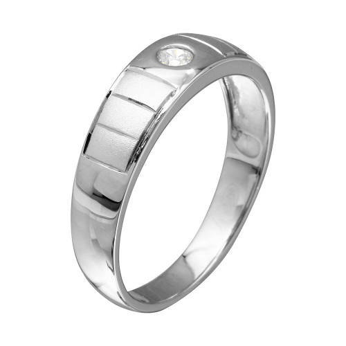 Wholesale Mens Sterling Silver 925 Rhodium Plated Line Shank Design Trios Ring - GMR00189