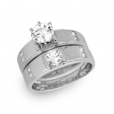 Sterling Silver Rhodium Plated with Matte Finish Round Center Trio Bridal Ring - GMR00190RH