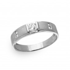 Mens Sterling Silver Rhodium Plated with Matte Finish Round Trio Ring - GMR00191RH