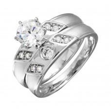 Sterling Silver Slash CZ Trios Bridal CZ Ring - GMR00192RH