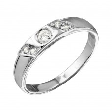 Mens Sterling Silver Slash CZ Trios Bridal CZ Ring - GMR00193RH