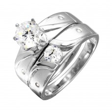 Sterling Silver Rhodium Plated Sideway Design Matte Finish Trio Ring - GMR00194RH