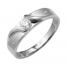 Mens Sterling Silver Rhodium Plated Sideway Design Matte Finish Trio Ring - GMR00195RH