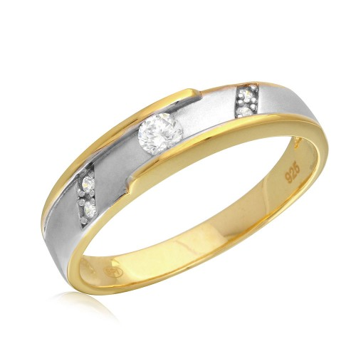 Wholesale Men's Sterling Silver 925 2 Toned Gold and Rhodium Plated CZ Wedding Band - GMR00197GP
