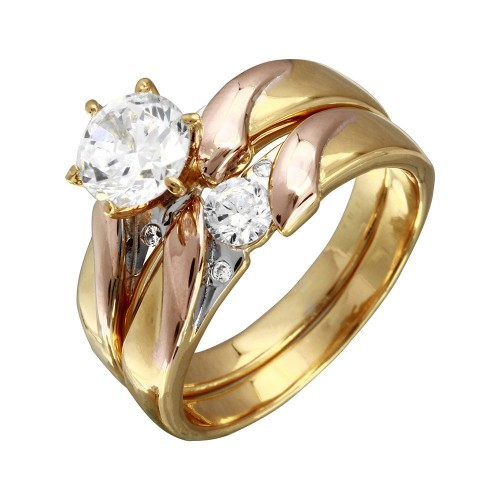 Wholesale Sterling Silver 925 Rhodium Plated 3 Toned CZ Trios Bridal Ring - GMR00198TRI