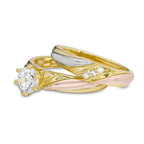 Wholesale Sterling Silver 925 3 Toned Overlap CZ Wedding Ring - GMR00200TRI