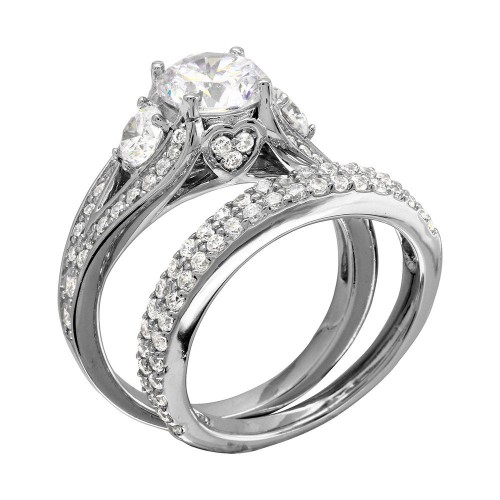 Wholesale Sterling Silver 925 Rhodium Plated CZ Bridal Ring - GMR00203