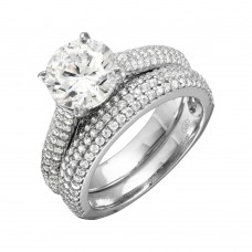 Wholesale Sterling Silver 925 Rhodium Plated Micro Pave Shank Bridal Single Center Stone Ring - GMR00204