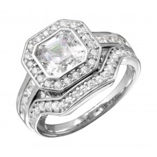 Wholesale Sterling Silver 925 Rhodium Plated 2pcs CZ Square Center Bridal Ring - GMR00205