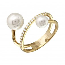 Sterling Silver Gold Plated Synthetic Pearl Ended Loop CZ Ring - GMR00206GP