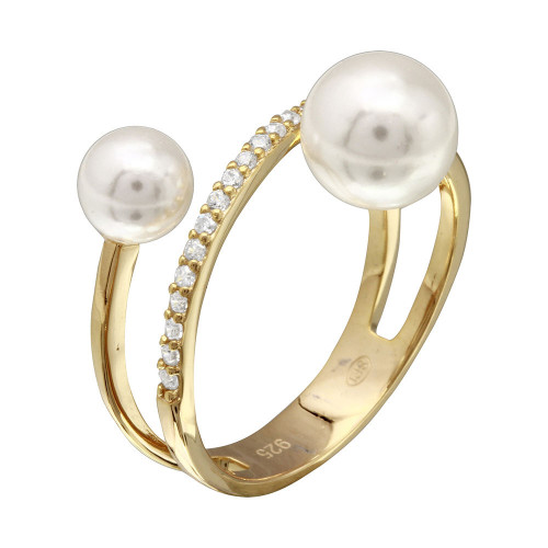 Wholesale Sterling Silver 925 Gold Plated Synthetic Pearl Ended Loop CZ Ring - GMR00206GP