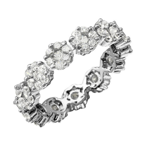 Wholesale Sterling Silver 925 Flower CZ Band Ring - GMR00207