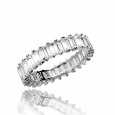 Wholesale Sterling Silver 925 Rhodium Plated Eternity Band with Rectangle CZ - GMR00208