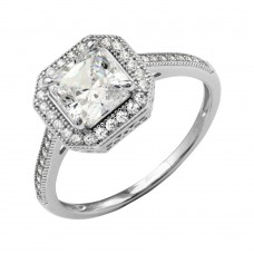 Wholesale Sterling Silver 925 Rhodium Plated Square Halo Ring with CZ Shank - GMR00209