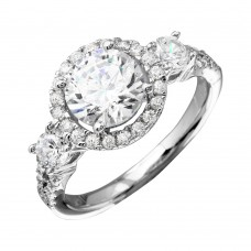 Wholesale Sterling Silver 925 Rhodium Plated Round Halo Ring with CZ Shank - GMR00210