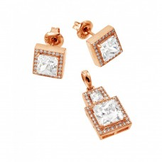 Wholesale Sterling Silver 925 Rose Gold Plated Clear Square Micro Pave CZ Stud Earring and Dangling Necklace Set - GMS00004RGP