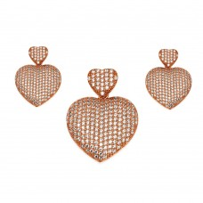 Wholesale Sterling Silver 925 Rose Gold Plated Clear Micro Pave Heart CZ Dangling Stud Earring and Dangling Necklace Set - GMS00009RGP