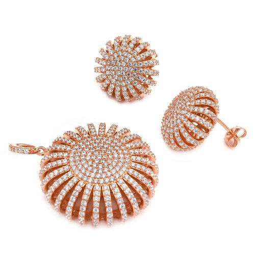 Wholesale Sterling Silver 925 Rose Gold Multi Pave Round Set - GMS00016RGP