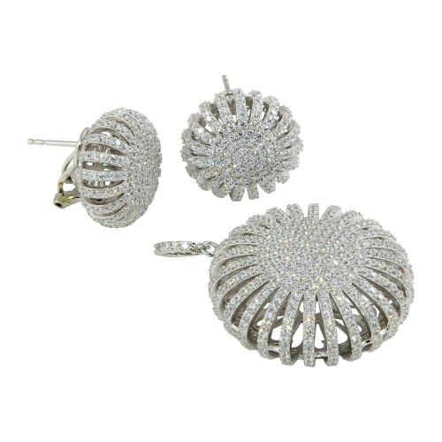 Wholesale Sterling Silver 925 Rhodium Plated Clear Micro Pave Puff Sun CZ Stud Earring and Dangling Necklace Set - GMS00016