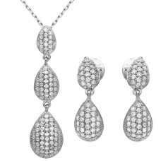 Wholesale Sterling Silver 925 Rhodium Plated CZ Encrusted Teardrop Set - GMS00022RH