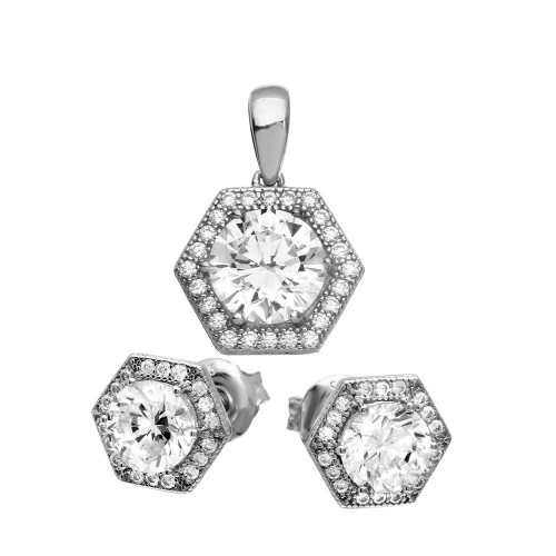 Wholesale Sterling Silver 925 Rhodium Plated 6 Sized Halo Pendant and Earrings Set - GMS00023RH