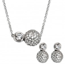 Sterling Silver Rhodium Plated Half CZ Sphere & Round CZ Connected Set - GMS00024RH