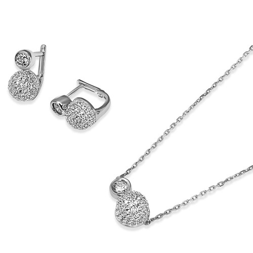 Wholesale Sterling Silver 925 Rhodium Plated Half CZ Sphere and Round CZ Connected Set - GMS00024RH