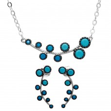 Wholesale Sterling Silver 925 Rhodium Plated Bubble Leaf Turquoise Stones Set - GMS00025BLK-T
