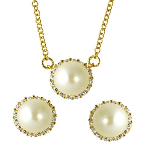 Wholesale Sterling Silver 925 Gold Plated Fresh Water Pearl Pave Matching Set - GMS00026GP