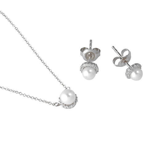 Wholesale Sterling Silver 925 Rhodium Plated Fresh Water Pearl Pave Matching Set - GMS00026